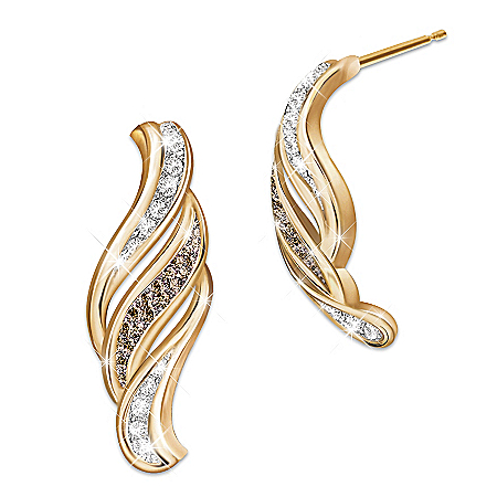 Sweet Decadence White And Mocha Diamond Women's Earrings