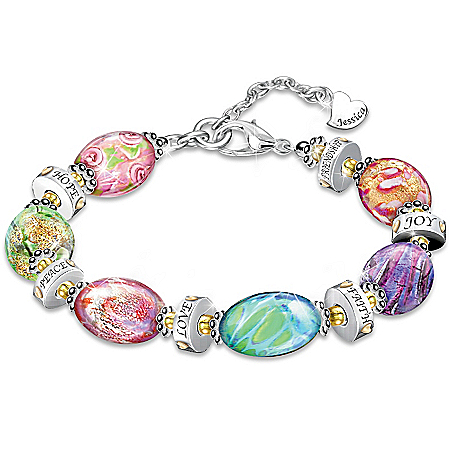 Bracelet: Daughter I Wish For You Personalized Murano Style Bracelet
