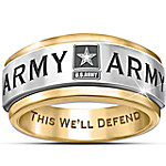 U.S. Army Stainless Steel Men's Spinning Ring