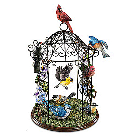 Songbird Haven Gazebo Sculpture With 8 Lifelike Songbirds