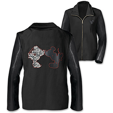 Jacket: Disney Mickey And Minnie Leather And Lace Women's Knit Jacket