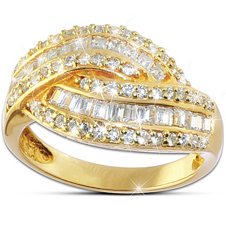 Women's Ring: Golden Glamour Ring by The Bradford Exchange Online - Lovely Exchange