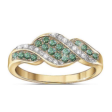 Ring: Rare Elegance Genuine Green And White Diamond Ring
