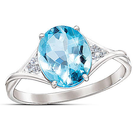 Photo of True Blue Genuine Blue & White Topaz Sterling Silver Women's Ring by The Bradford Exchange Online