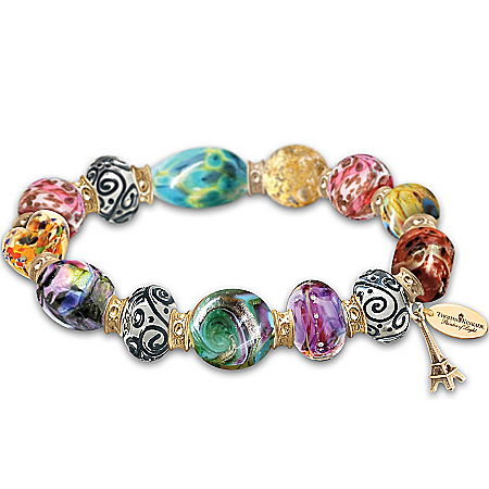 Bracelet: Thomas Kinkade Colors Of Paris Murano-Style Glass Bracelet