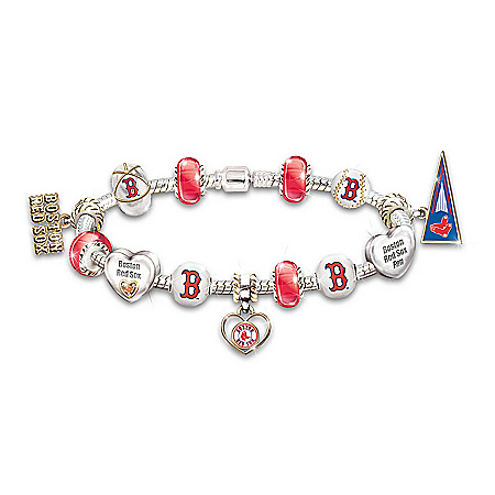 Women's Bracelet: Go Red Sox! #1 Fan Charm Bracelet by The Bradford Exchange Online - Lovely Exchange