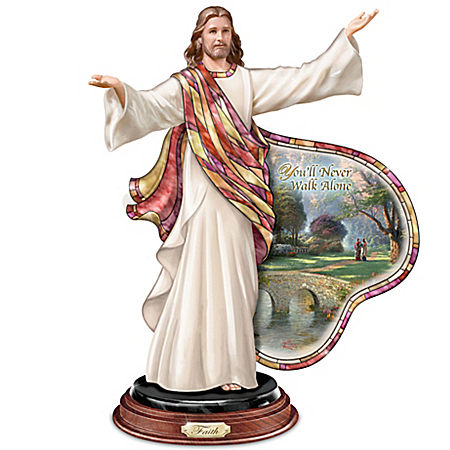 Sculpture: Thomas Kinkade And Louis Comfort Tiffany-Style Journey Of Faith Jesus Sculpture