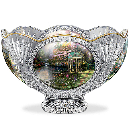 Bowl: Thomas Kinkade Facets Of Brilliance Genuine Crystal Bowl