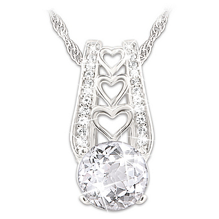 Alfred Durante One Love Women's Personalized White Topaz Pendant Necklace – Personalized Jewelry