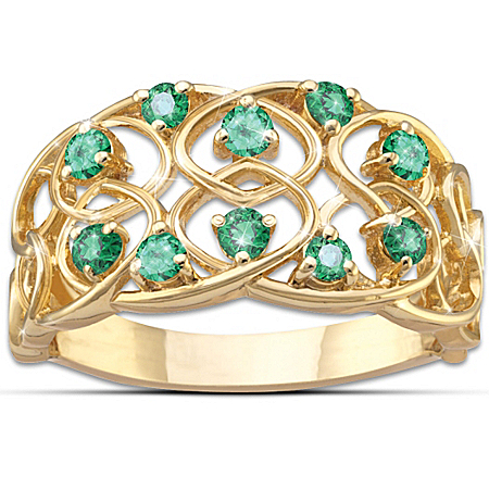 Celtic Lace Emerald Ring