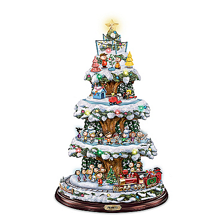 A PEANUTS Christmas Tabletop Christmas Tree With Lights, Music, And Motion