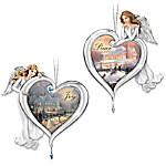 Thomas Kinkade Heartfelt Blessings Angel Ornaments Set One - Features Joy And Peace
