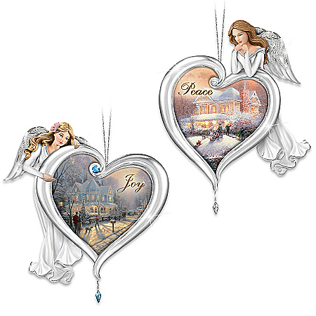 Thomas Kinkade Heartfelt Blessings Angel Ornaments Set One: Features Joy And Peace