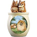 Cookie Capers - The Pomeranian Cookie Jar Featuring Linda Picken's Dog Art