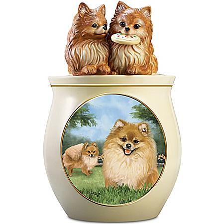 Linda Picken Pomeranian Art Ceramic Cookie Jar With Sculpted Poms On Lid