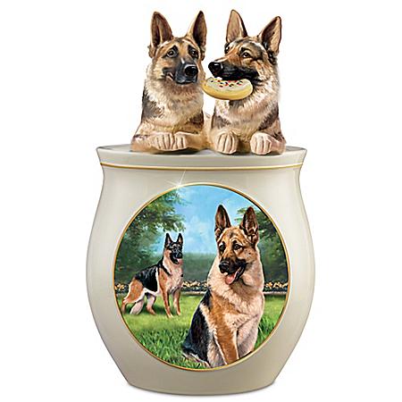 Cookie Capers: The German Shepherd Handcrafted Cookie Jar