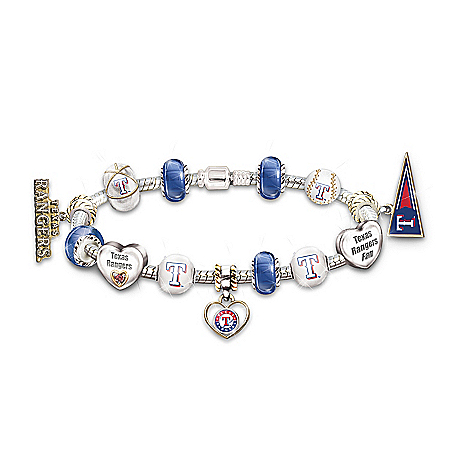 Bracelet: Go Texas Rangers! #1 Fan Charm Bracelet by The Bradford Exchange Online - Lovely Exchange