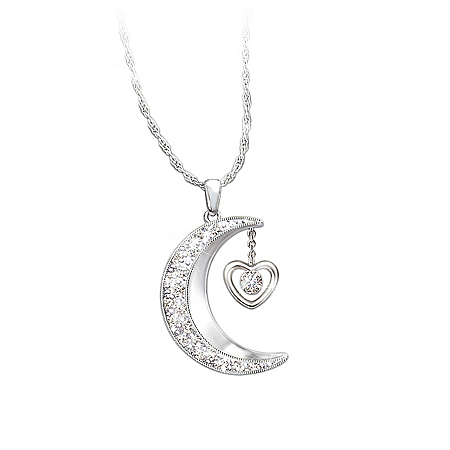 Women's Necklace: I Love You To The Moon And Back Daughter Diamond Pendant Necklace