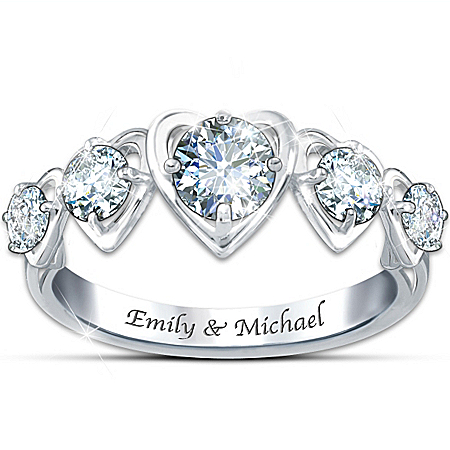 Ring: Love's Eternity Personalized White Topaz Heart Ring