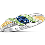 Ring - Sterling Silver 18K Gold-Plated Pride Of Seattle Sapphire And Peridot Ring