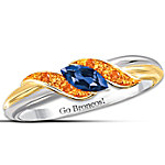 Ring - Broncos Sterling Silver 18K Gold-Plated Pride Of Denver Sapphire Ring