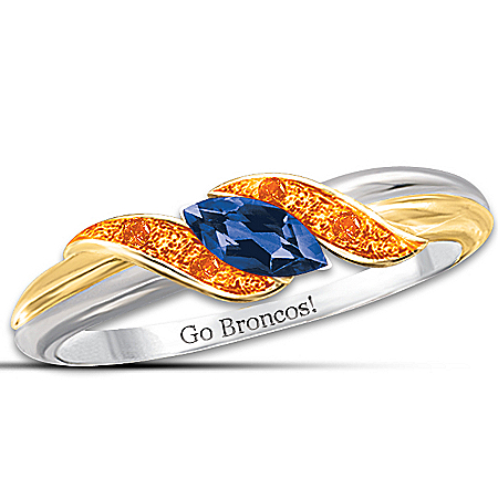Ring: Broncos Sterling Silver 18K Gold-Plated Pride Of Denver Sapphire Ring by The Bradford Exchange Online - Lovely Exchange