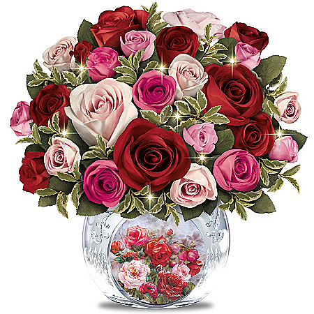Lena Liu Today, Tomorrow, Always Floral Bouquet Table Centerpiece With Rose Crystal Vase