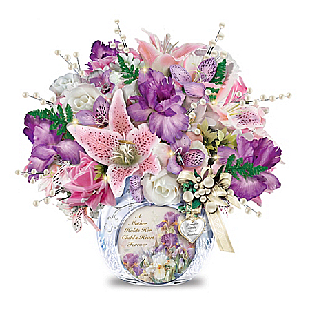 Flower Arrangement for Mothers: Always In Bloom Personalized Crystal Centerpiece