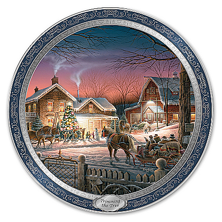Collector Plate: Trimming The Tree: Terry Redlin Masterpiece Collector Plate