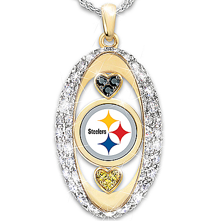 For The Love Of The Game Pittsburgh Steelers Pendant Necklace by The Bradford Exchange Online - Lovely Exchange