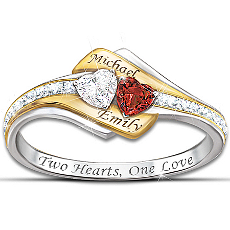 Women's Two Hearts Become One Personalized Gemstone & Diamond Ring