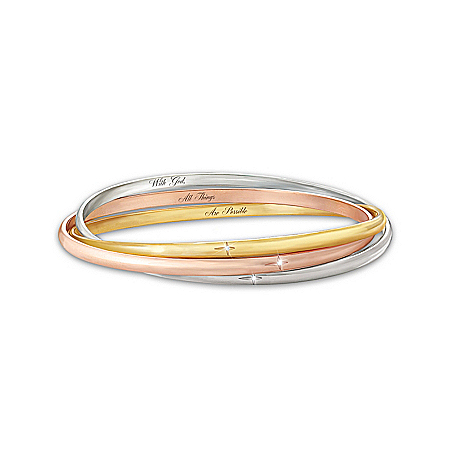 Bracelet: The Trinity Diamond Bangle Bracelet by The Bradford Exchange Online - Lovely Exchange