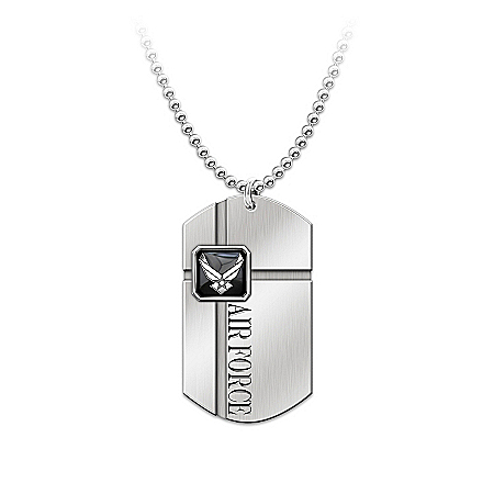 For My Airman Men's Dog Tag Pendant Necklace