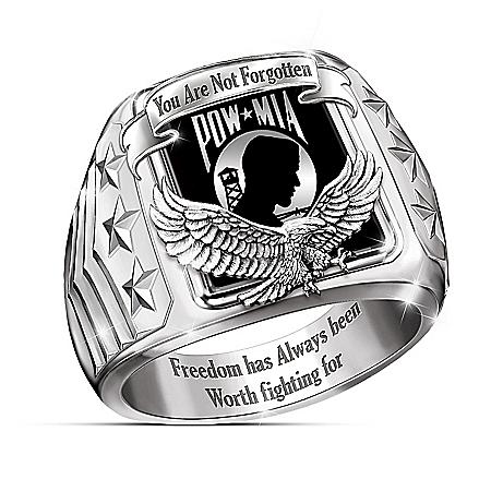 Never Forgotten POW-MIA Stainless Steel Men's Ring