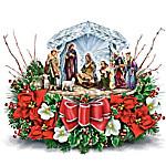 Thomas Kinkade O Holy Night Illuminated Crystal Nativity Scene Table Centerpiece