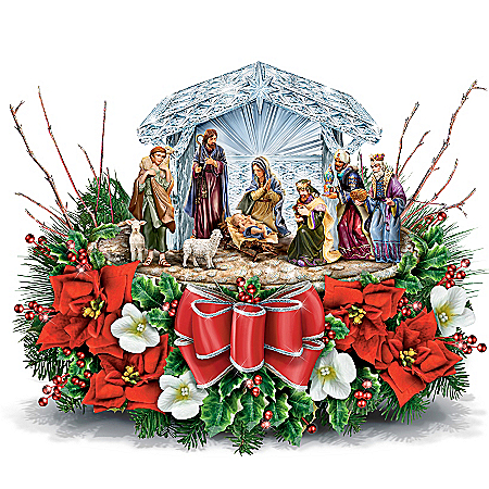 Thomas Kinkade O Holy Night Illuminated Crystal Nativity Scene Table Centerpiece