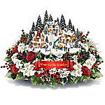 Thomas Kinkade Always In Bloom Home For The Holidays Table Centerpiece