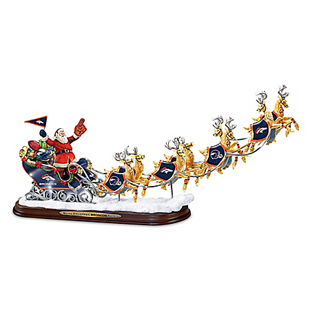 A Broncos Merry Christmas! Denver Broncos Santa Claus Sleigh Sculpture by The Bradford Exchange Online - Lovely Exchange