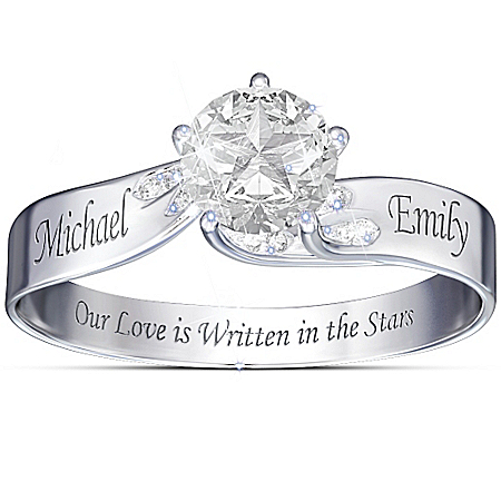 Our Love Is Written In The Stars Engraved Personalized White Topaz Women's Ring