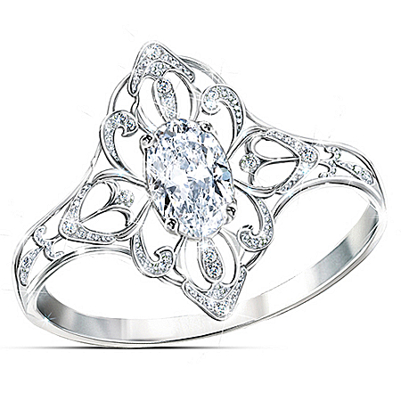 Sterling Silver Royal Lace Diamonesk Ring