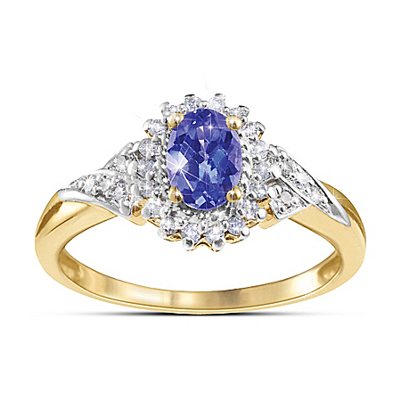 Ring: Mystique Tanzanite & Diamond Ring by The Bradford Exchange Online - Lovely Exchange
