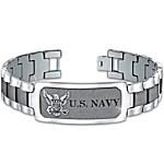 Bracelet: Navy Pride Personalized Men's Stainless Steel ID Bracelet