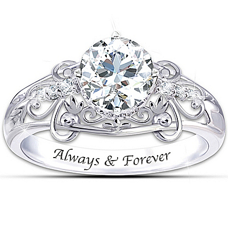 Ring: Sterling Silver Happily Ever After Genuine White Topaz Ring by The Bradford Exchange Online - Lovely Exchange
