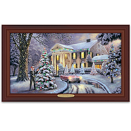 Thomas Kinkade Christmas At Elvis Presley's Graceland Home Illuminated Canvas Print Wall Decor