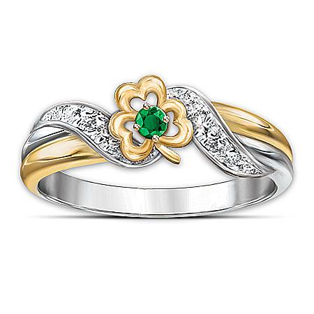Ring: Lucky Shamrock Emerald & Diamond Embrace Ring