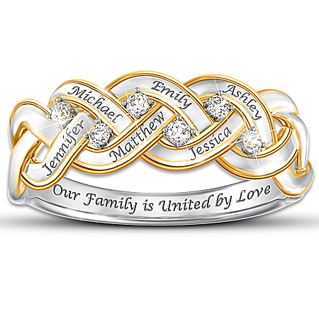 Women's Ring: Strength Of Family Personalized Diamond Ring