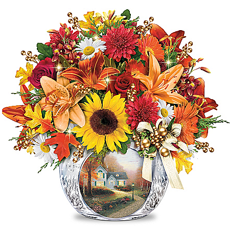 Floral Arrangement: Thomas Kinkade Autumn's Golden Glow Table Centerpiece