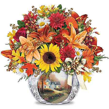 Floral Arrangement: Thomas Kinkade Autumn's Golden Glow Table Centerpiece