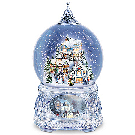 Thomas Kinkade Home For The Holidays Lighted Christmas Musical Snowglobe