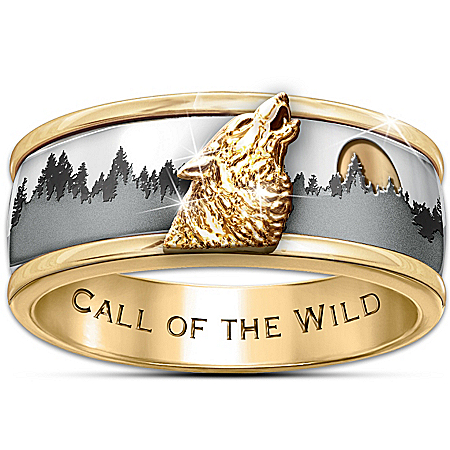 Wolf Decor Ring: Call Of The Wild Men's Spinning Wolf Ring